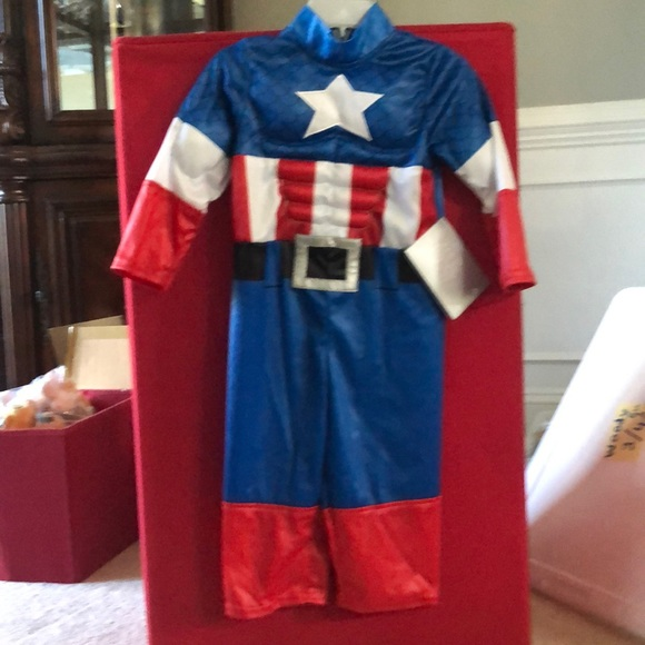 Disney Costumes Captain America Baby Costume Muscle Suit 218m Poshmark Captain marvel womens jumpsuit girls cosplay costume printing bodysuit superhero. poshmark